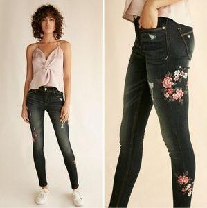 Express | Floral Embroidered Skinny Denim Legging